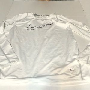 Nike Pro Boys Large White Long Sleeve Fitted Shirt